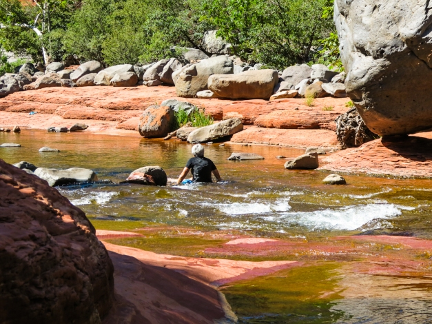 Carol tries out some Red Rock Sliding