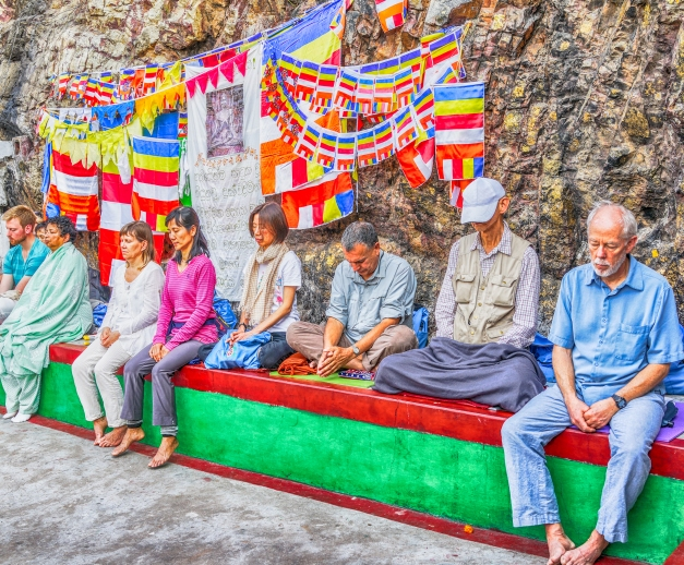 Pilgrims meditating on the Path