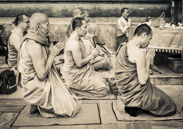 Monks Meditating Under the Bodhi Tree